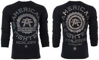 AMERICAN FIGHTER Mens LS T-Shirt MARLYAND Athletic BLACK Biker Gym MMA $54