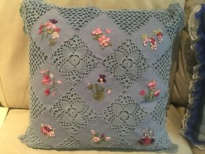 """Decorative Pillow with crocheted front and flower appliques - 15"""" x 15"""" - blue"""