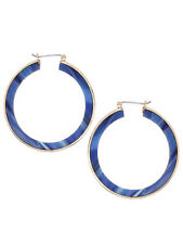 Blue and Gold Round Hoop Drop Dangle Women Fashion Jewelry Earrings