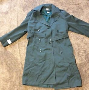 Vietnam Era Regulation US Army Long Wool Trench Coat Overcoat 34 Gabardine Moth