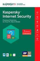 NEW Kaspersky Internet Security 2017/2016/2015-/3PC/1 Year digital key/keycard