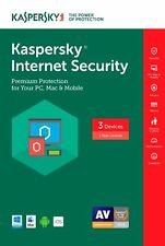 NEW Kaspersky Internet Security 2018/2017/2016-/3PC/1 Year digital key/keycard
