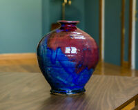 Studio Pottery Vase Red Blue Handmade Ceramics Signed Orb Weed Pot Vintage Pot