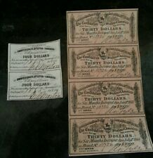 STUNNING & ORIGINAL 6 CONFEDERATE COUPONS 2 FROM 1861, 4 FROM 1864!FREE SHIPPING