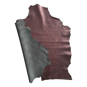 Metallic Purple Genuine Leather Hide Upholstery Material Craft Supply Fabric 825