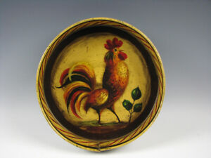 W.C. Wrede Folk Art Hand Painted Tole Tin Tray w/Rooster