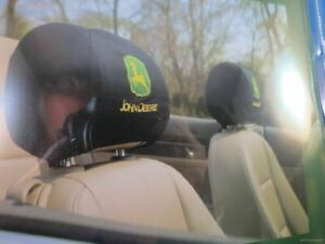 JOHN DEERE Tractor EMBROIDERED CAR AUTO TRUCK SET OF TWO 2  HEADREST COVERS