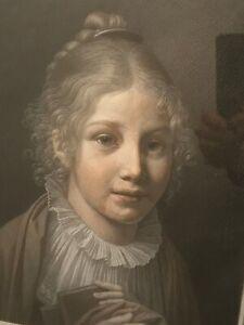 Gabriel Constant Vaucher Pastel Portrait of Caroline Dufour old master drawing