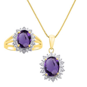 Princess Diana Inspired Halo Diamond & Amethyst Matching Pendant Necklace and R