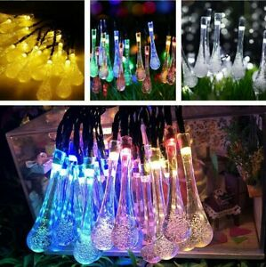 30-50 LED Solar Powered Raindrop Teardrop Fairy String Lights Outdoor Garden UK
