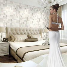 Modern Non-woven Embossed 3D Stereoscopic Mosaic Wallpaper Roll Pearl White 5.3㎡