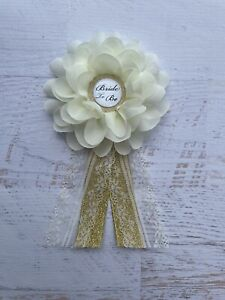 Ivory /Gold Bridal Shower Corsage,Bride To Be Corsage Pin ,Wedding Badge