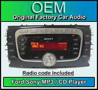 Ford S-Max CD MP3 player, Ford Sony car stereo head unit with radio code