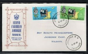 TRINIDAD & TOBAGO 1961 FIRST DAY COVER 2ND CARIBBEAN BOY SCOUT JAMBOREE MAP