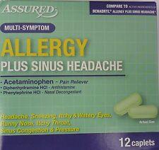ALLERGY PLUS SINUS HEADACHE Pain Reliever Antihistamine Decongestant 12 Caplet