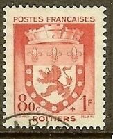 """France Stamp N°555 """" Armoiries (Emblems) Poitiers """" Cancelled Very Good"""