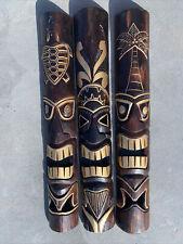 Set Of 3 40� Tiki Mask Hawaiian Wall Art Island Home Decor Tribal Bar Tropical