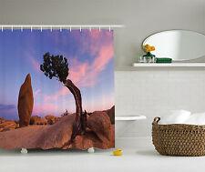 Juniper Tree Bonsai Trees Twilight Peaceful Nature Rock Sunset Shower Curtain