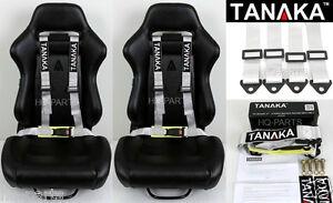 2 X TANAKA UNIVERSAL GRAY GREY 4 POINT BUCKLE RACING SEAT BELT HARNESS