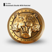 Luxury Automatic Vintage Belt Buckle with Ratchet Antique Brass Tiger Head