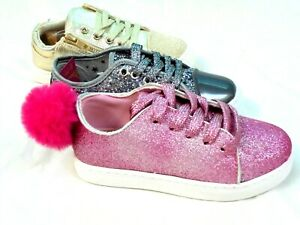 GIRLS LACE UP PUMPS LOW TOP SILVER PINK GOLD GLITTER TRAINERS SHOES SIZE 7 - 3