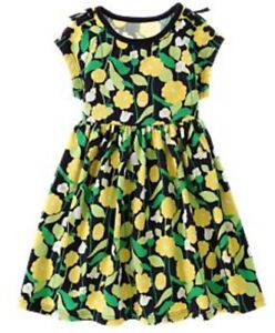 ❤ GYMBOREE girl floral dress size 9 10 yellow green shoelaces cotton FREESHIP