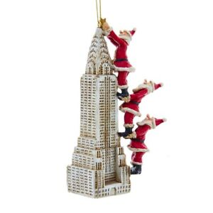 Santa Climbing Chrysler Building Ornament w