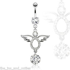 Angel Belly Ring Paved CZ Gems & Solitaire Dangle Pierced Navel Wings (w561)