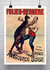 The Kangaroo Boxer Paris Sideshow Poster Fine Art Print on Canvas or Paper