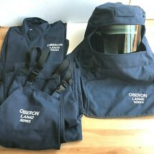 $956 New OBERON 40 Cal LAN4 Arc Flash Hood + Coat + Bib Suit 3 Pcs Set Sz M