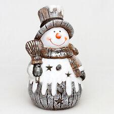 Sigro Keramik Windlicht Schneemann XXL 39 cm incl. LED Beleuchtung silber braun