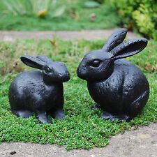 Pair of Black Cast Iron Rabbit Animal Garden Ornaments Bunny or Bunnies