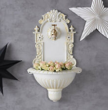 Nostalgic fountain antique style wall fountain white metal with water tap new