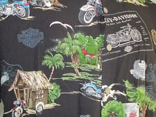 Harley Davidson Black Hut Motorcycle Graphic Short Sleeve Shirt Medium