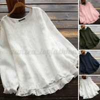 ZANZEA Women Long Sleeve Round Neck Tops Vintage Loose Ruffles Shirt Blouse Tee