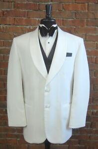 Mens 40 S After Six Classic White Shawl Satin Lapel Tuxedo Dinner Jacket