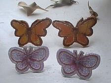 butterfly earrings shimmering white orange summer shiny studs hand embroidered
