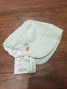 Janie and jack size 3-6 months girl green stripe bonnet