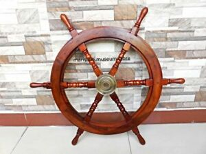 Wooden Ship Wheel Vintage Nautical Home 24 Inch Wall Decor Handcrafted Gift