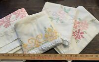 Vintage 4 Pillowcases Cross Stitch Embroidery Sew Cutting Stain Damaged Lot 5