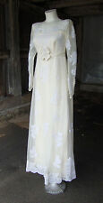 Cream and Ivory Vintage Wedding Dress 1970s Lace Small
