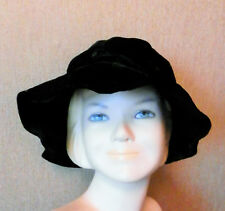 Chapeau vintage, en velours noir, mou à large bord,  femme