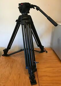 Manfrotto 503 Fluid Head with 525 black tripod, spreader and bag.