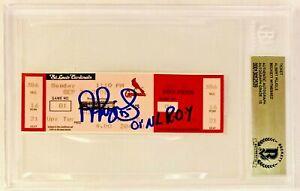 Albert Pujols Signed 01 NL ROY Game Ticket 9/30/01 Beckett Witnessed Graded 10