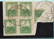España. Bloque de 4 mas sello bisectado con fechador SERON (ALMERIA)