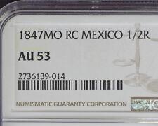 MEXICO 1847 Mo RC SILVER ½ REAL NGC AU 53
