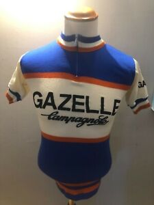 Vintage Gazelle Campagnolo Santini wool short sleeved cycling jersey