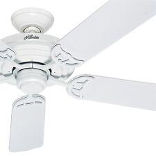 """Hunter Fan 52"""" Outdoor Ceiling Fan in White -Stainless Steel Hardware"""