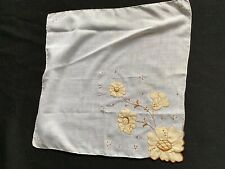 Vintage Ladies' Tan & White Appliqué Flowers Hankie With Bead Embellishments