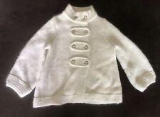 Janie Jack Winter Walk Girls Button Cream White Sweater Coat 18-24 18 24 Months